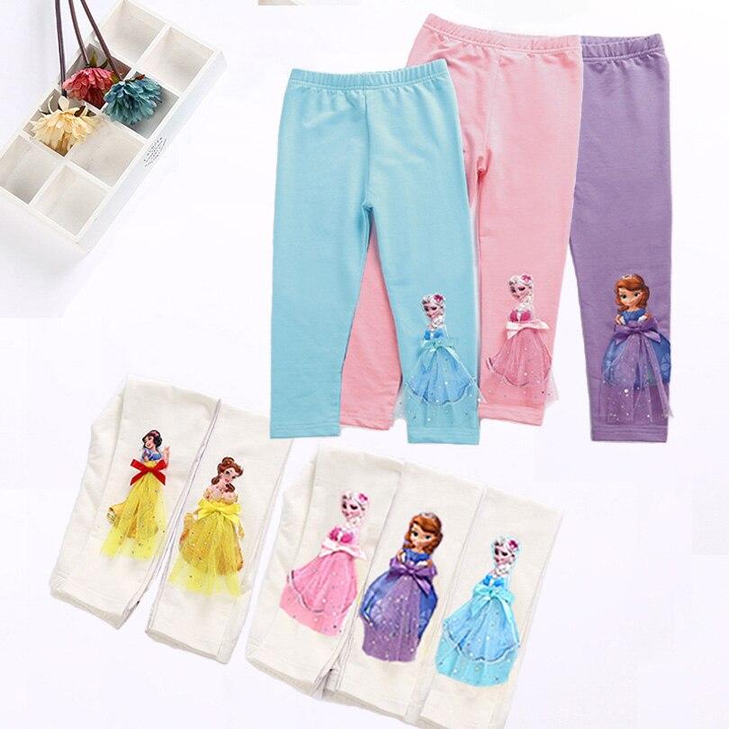 Bonito do bebê meninas leggings verão panturrilha calças de comprimento dos desenhos animados 3d anna elsa menina calças crianças crianças calças 0-9years princesa