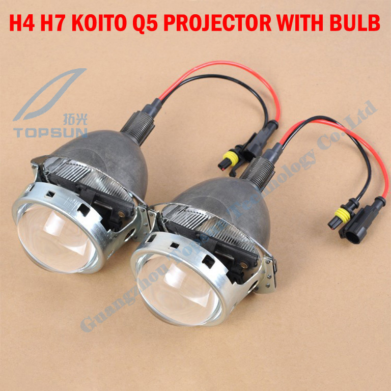 ФОТО GZTOPHID  3.0inch H4 H7 koito q5 HID Bixenon Projector Lens With Special Xenon Bulb Shrouds And Hi/Lo Beam Control Wiring