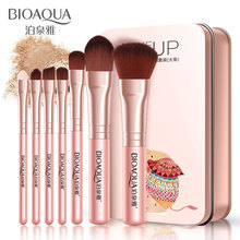 цена на BIOAQUA Soft Synthetic Hair Makeup Tools Kit MakeUP Black Leather Case Cosmetic Beauty Makeup Brush Best Make Up Brushes 7Pcs