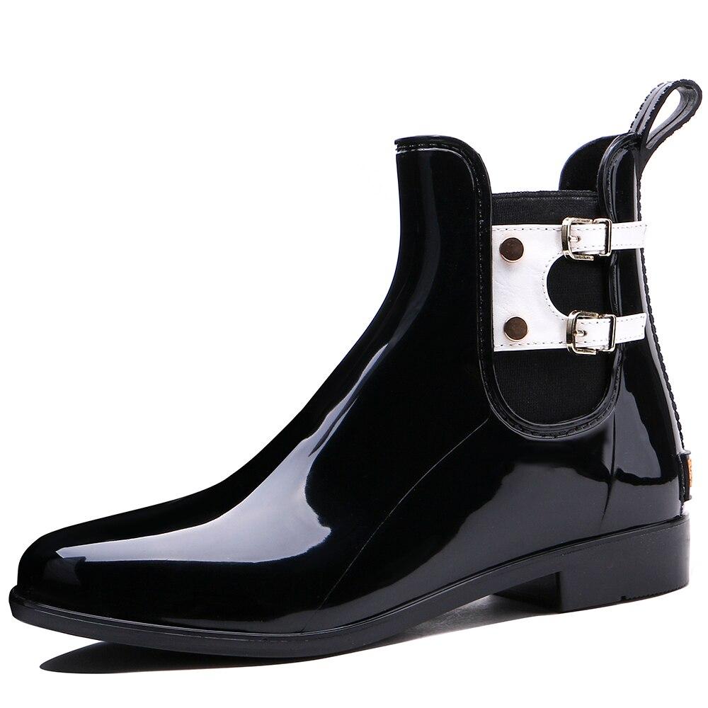 TONGPU New Design Womens Low Heel Ankle High Glossy Surface Waterproof Outdoor Rain Boots 209-608