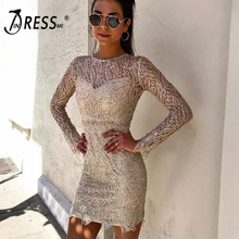 INDRESSME 2019 New Round Neck Lace Two-piece Long Sleeves Sequins Scalloped Hemline Bodycon Bandage Mini Dress Party Club Dress yellow round neck net yarn long sleeves bodycon mini dresses