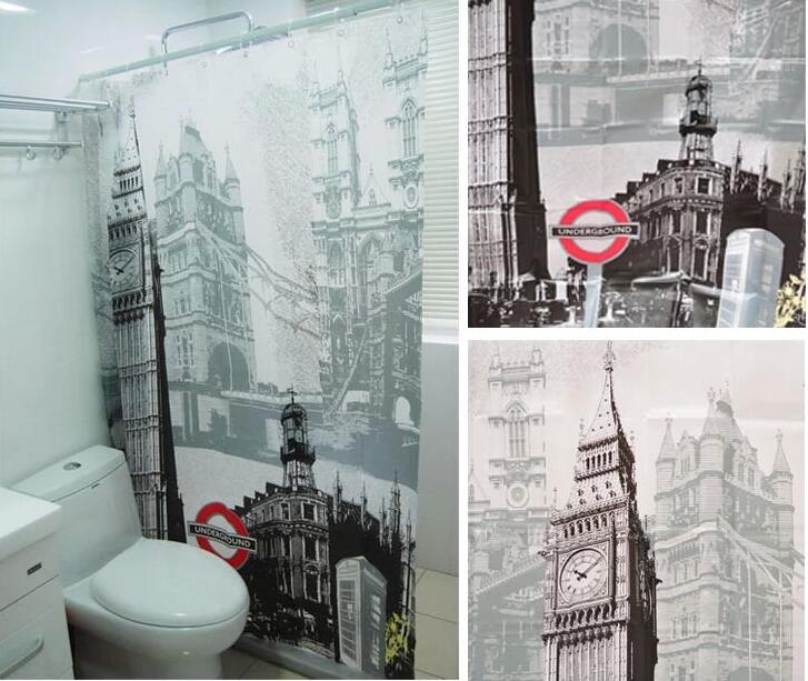 1Pcs Waterproof EVA City Landscape Shower Curtain The Statue Of Liberty Eiffel Tower Big Ben Fashion Design In Curtains From