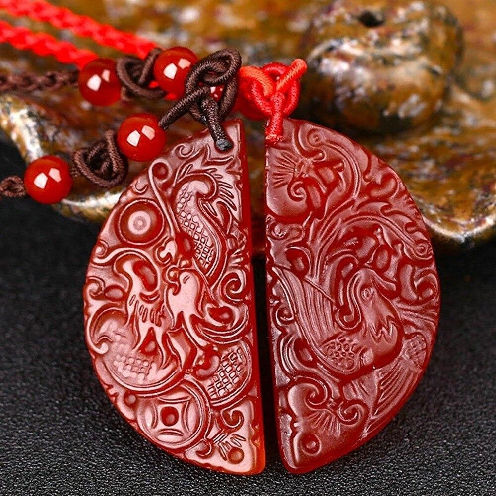 Bijoux fins pur naturel rouge Agates Fine polissage amoureux Dragon Phoenix paire collier pendentif livraison gratuite