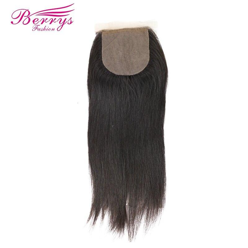 Berrys Fashion Silk Base Lace Closure 4x4 Straight Brazilian Vigin Hair Free Part 100 Human