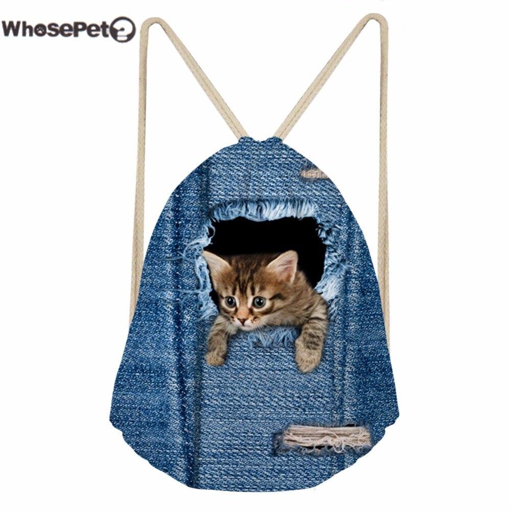 WHOSEPET Draw String Backpacks 3D Cowboy Cat Printing Backpack Kawaii for Children Girls Boys Rucksack Bag Storable Sackpack