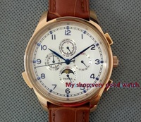 44MM PARNIS Automatic Self Wind Movement White Dial Multi Funtion Men S Watch Mechanical Watches Pvd