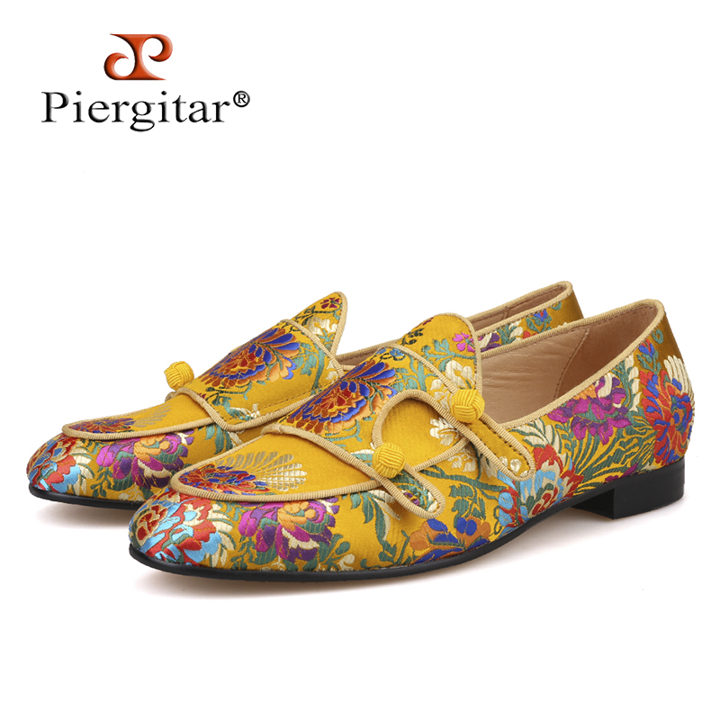 Piergitar 2018 New Arrivals Five Colors Men Silk Shoes Chinese Style Flower Men s Loafers Wedding