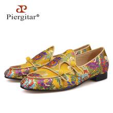 Piergitar 2019 New Arrivals Five Colors Men Silk Shoes Chinese Style Flower Mens Loafers Wedding And Party Smoking Slippers