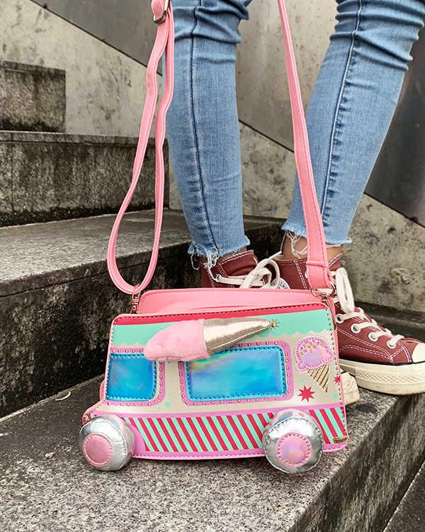 جديد لطيف الكرتون الآيس كريم سيارة اللون شريط بو شابة الفتاة حقيبة كتف حقيبة Crossbody البسيطة حقيبة المرأة الحقيبة اليد حقيبة رفرف