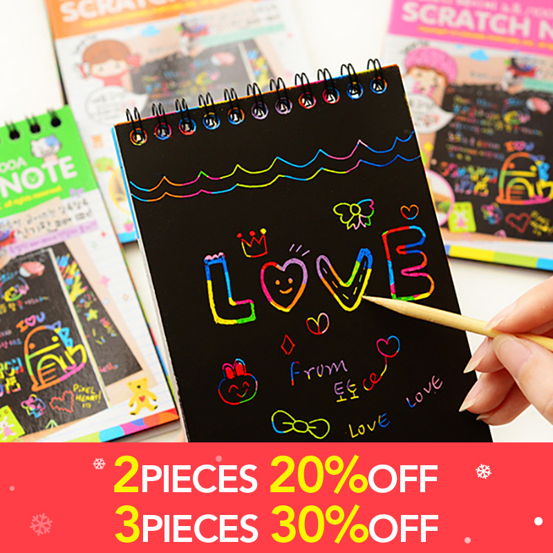 Drawing Paper DIY Painting Educational Toys For Children New Fun Doodling Scratch Kids Christmas Colorful Black With Wood Stick