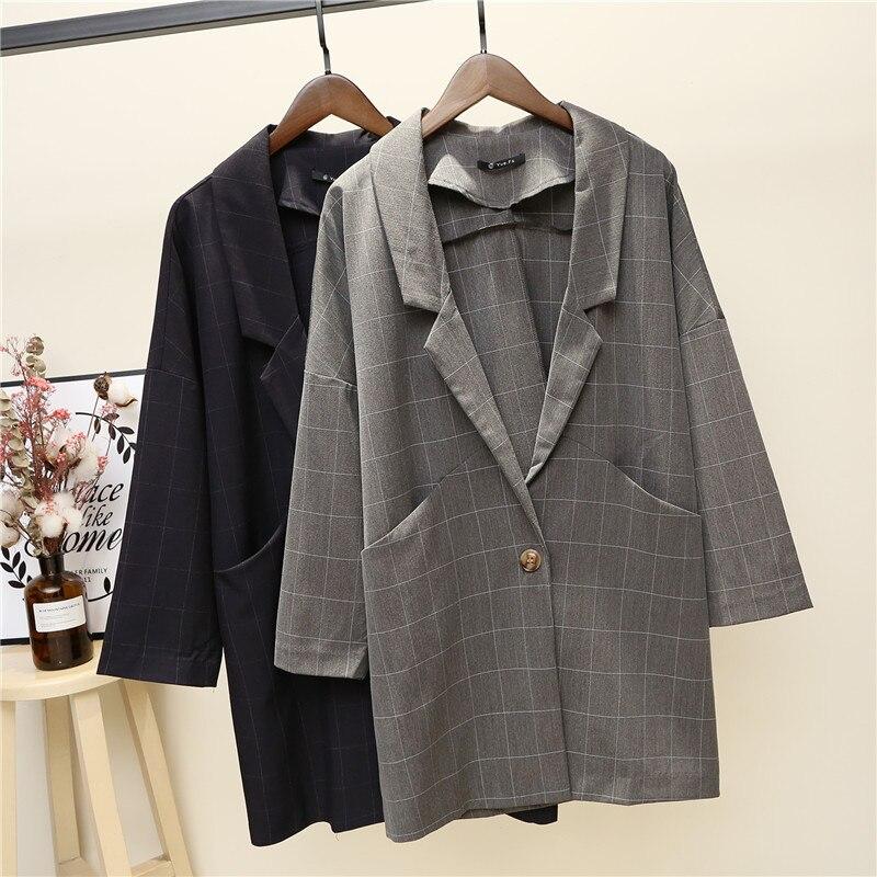 Nouvelle Mince Lâche Costume Coréenne Blazer 1 La Rayé Version Col Petit 2 Femmes Veste Long Femelle De Automne Fxqfp7pd