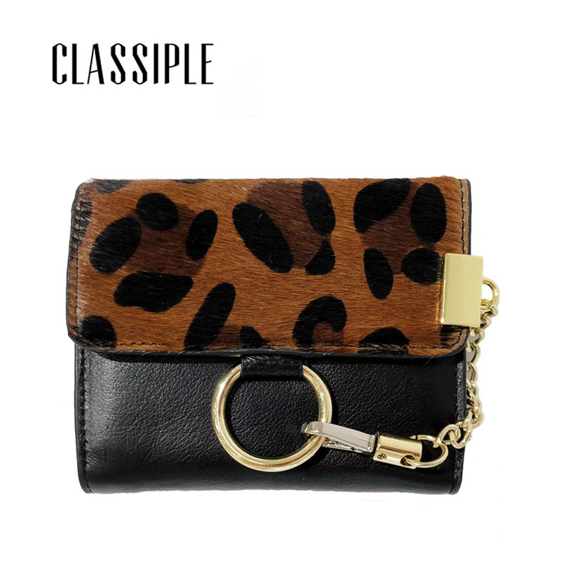 Cow Leather Wallet Womens Horse Hair Fashion Leopard Lady Wallet Chains Women Short Wallet Hasp Genuine