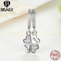 BISAER 925 Sterling Silver Best Friends Forever Clear CZ Heart Clover Charms Fit Pandora Bracelets Necklace
