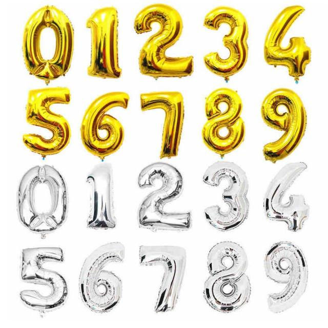 16 inch 0-9 Gold Silver Number Foil Balloons Helium Ballons Birthday Party Wedding Decor Air Baloons Party Supplier