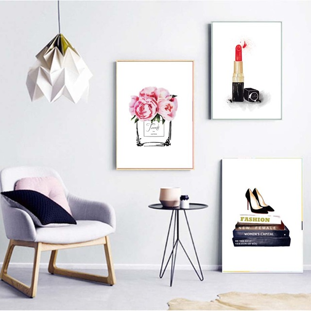 Perfume bottle lipstick high heels canvas art print paintingposters and prints wall pictures for