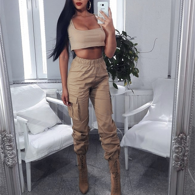 2019 Streetwear Cargo   Pants   Women Casual Joggers Khaki High Waist Loose Female Trousers Korean Style Ladies   Pants     Capri   XM391