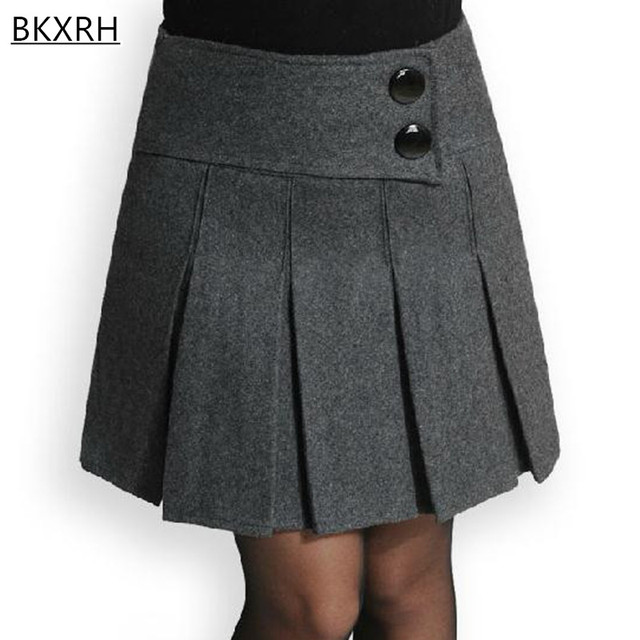 30d03b189 € 37.84  2017 botas de otoño e invierno de lana corta plisada falda gris  negro faldas con bolsillo para las mujeres skirtplus tamaño M 4XL en ...
