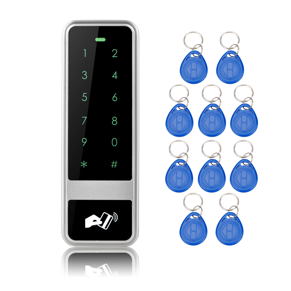 RFID Waterproof electronic door lock Metal Access control keypad with 10 Key Fobs Digital Locks For Door Access Control System lpsecurity 125khz id em or 13 56mhz rfid metal door lock access controller with digital backlit keypad ip65 waterproof
