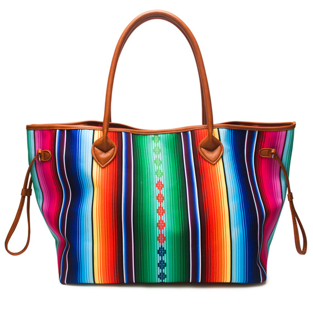 Women Canvas Large Casual Handbag Spring Summer Bright Color Round PU Handles Striped Serape Beach Travel Tote Shoulder Bag