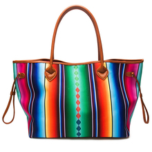 279224f171c4 Women Canvas Large Casual Handbag Spring Summer Bright Color Round PU  Handles Striped Serape Beach Travel · 2 Colors Available