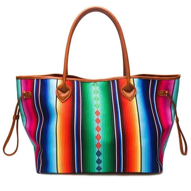 Women Canvas Large Casual Handbag Spring Summer Bright Color Round PU  Handles Striped Serape Beach Travel Tote Shoulder Bag 215badaed67b3
