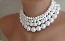 Envío gratis las nuevas mujeres cuatro capas blanco imitación collar perlas de joyas