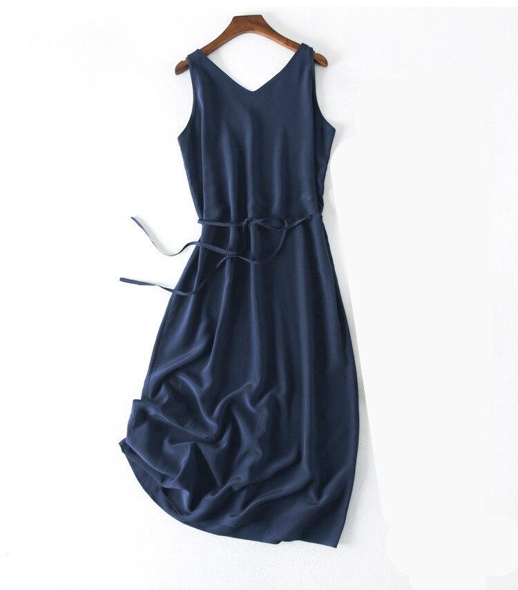 Femmes été soie robe col en V bleu marine Vintage naturel soie robes élégant vert robe décontracté vacances réel soie longue robe