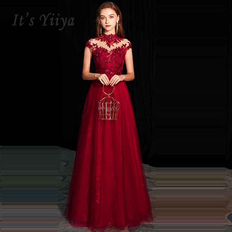 It's Yiiya Evening Dress High Collar Robe De Soiree Lace Women Party Dresses 2019 Long Plus Size Sleeveless Formal Gowns E662