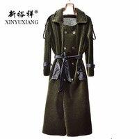 XINYUXIANG горячая Распродажа 100% шерсть пальто женщин 110 см длинные стрижки овец меховая куртка теплая дутая куртка зима натуральный мех шерсть