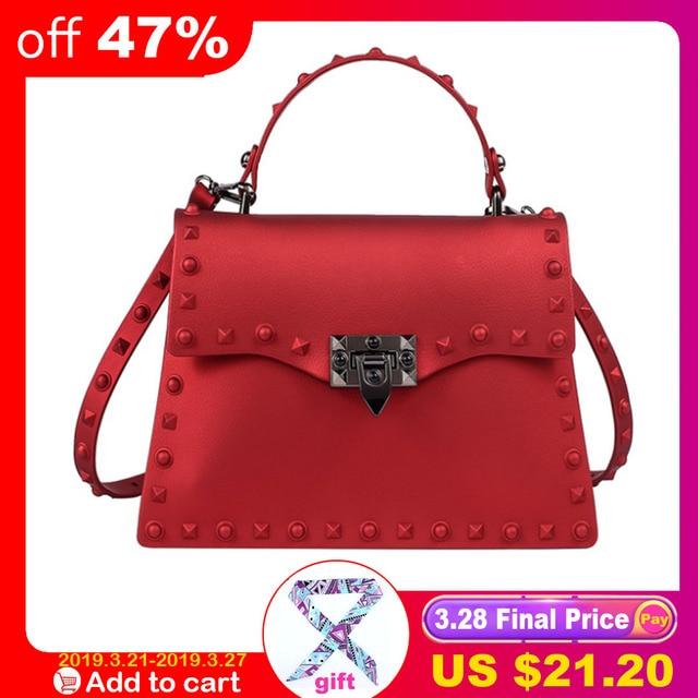 cf0350675 SUNNY BEACH Brand Luxury Rivets Handbags Women Bag Matte Jelly Stud Bag  Tote Bag Designer Purse