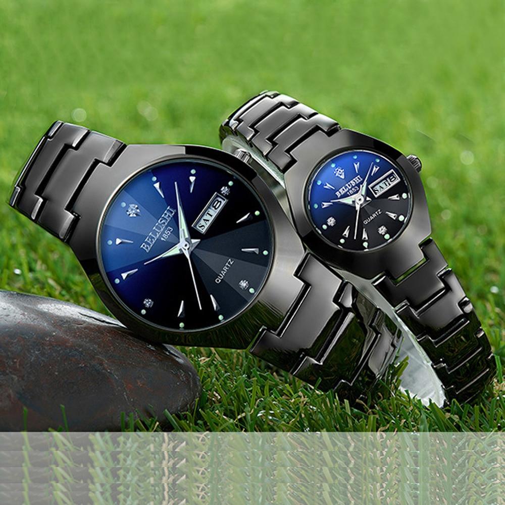 Couple Watches 2019 Top Quality Tungsten Steel Black Wrist Watch for Men and Women Bracelet Female Watch Reloj Hombre Lover Saat