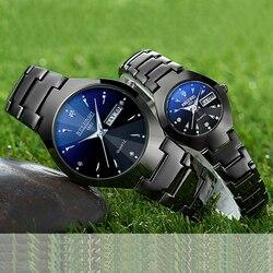 Casal relógios 2019 de alta qualidade tungstênio aço preto relógio de pulso para homens e mulheres pulseira relógio feminino reloj hombre amante saat