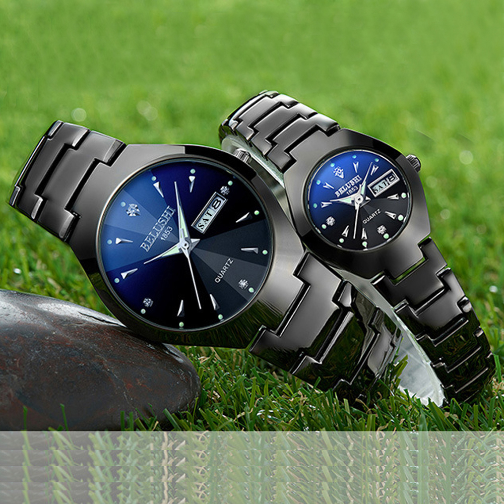 Couple Watches 2019 Top Quality Tungsten Steel Black Wrist Watch for Men and Women Bracelet Female Watch Reloj Hombre Lover Saat-in Lover's Watches from Watches