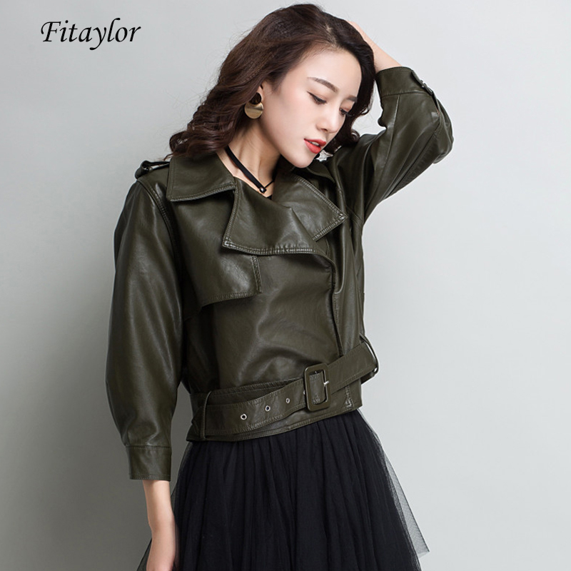 Fitaylor Autumn Women Faux Soft   Leather   Jacket Coat Pu Motorcycle Epaule Turn-down Collar Short Jacket Female Loose Outerwear