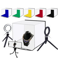 Portable 30*30CM Softbox Folding Studio Shooting Tent Box + 4.6 inch Ring LED Light Kits with 6 Colors Backdrops high quality