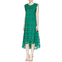 High Quality Summer Designer Brand Runway Dress Women S Sleeveless Green Lace Hollow Out Dresses Casual