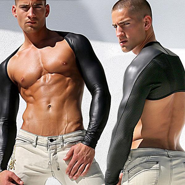 Frete grátis moda couro falso Patchwork de malha colete body Lingerie Gay homens Tops T camisas dos homens de T