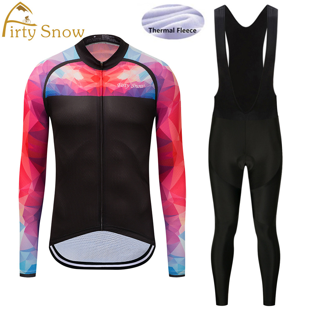 2018 Firty Snow Winter clothes cycling jersey bib pants bicycle thermal fleece wear set ropa maillot ciclismo clothing-GB035