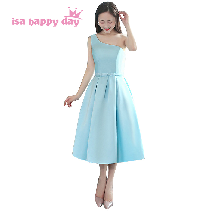 one shoulder light blue tea length bridesmaid dress adult country bridal party dresses ball gown wedding new arrival 2019 H4232