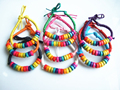 10 pcs Rainbow Small Wooden  Spacer Wax Cotton Cord Adjustable Bracelet Bangle