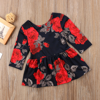 Newborn Clothes Fashion Baby Girl Floral Long Sleeve Party Pageant Prom Dress Winter Spring New year black dresses for baby girl 2