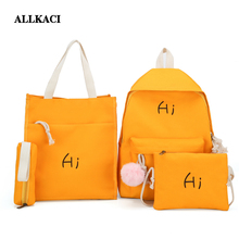 Women Oxford 4Pcs/Set Backpack Printing Students Bookbag School Bag Set For Youth Girls With Purse Bear Mochila shoulder bags 50 embroidered detail backpack with bear charm 4pcs