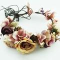 Mulheres flor pineal grinalda nupcial mulheres guirlandas fotografia artesanal de casamento da noiva coroa cocar cocar floral ajustável