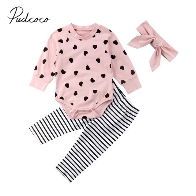 2018 Brand New Autumn Winter Newborn Infant Baby Girl Clothes Set 3PCS Long  Sleeve Heart Pink Romper Tops Striped Pants+Headband 89dd3c434c60