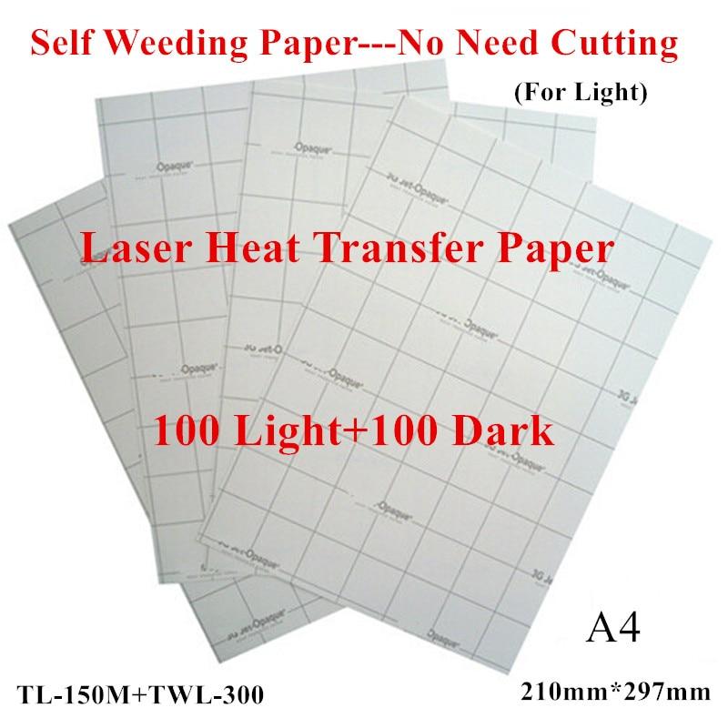 (200 pcs = 100 Licht + 100 Donker) laser Transfer Papier A4 Papier Warmte Thermische Transfer Printing Papier Met Heat Press Voor tshirt-in Schilderpapier van Kantoor & schoolbenodigdheden op  Groep 1