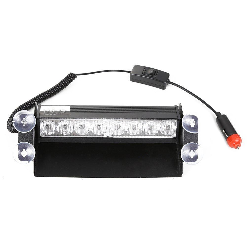 8 LED Strobe Dash/ Deck/ Windscreen Light Bar Beacon, White and blue