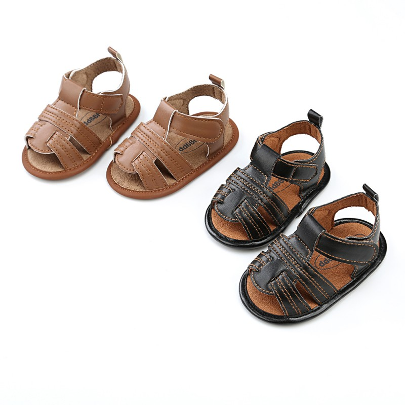 2018 Newborn Boy Baby Summer Sandals Fashion Classic Non-Slip Shoes PU Material Breathable Newborn Shoes