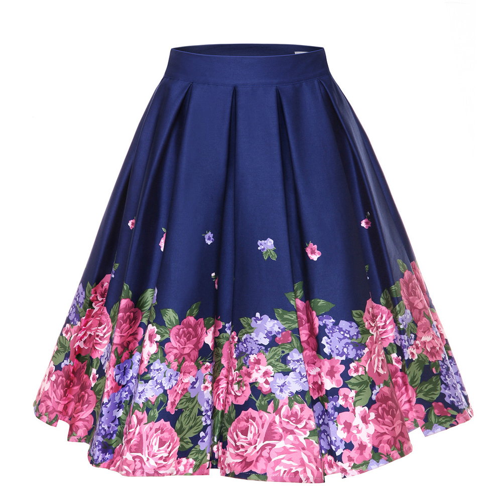 Image 3 - 4XL Floral Print 50s 60s Skirts Plus Size Big Swing Retro Skirt High Waisted Pleated Skirt 50s Rockabilly Vintage Women ClothingSkirts   -