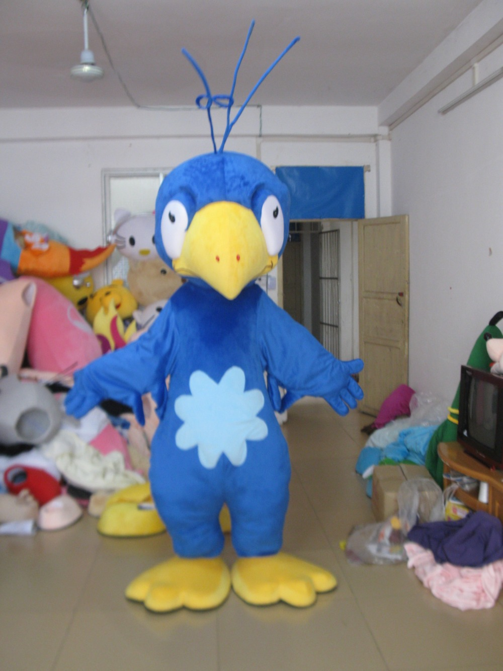 Cartoon character adult mascot costume,blue parrot mascot costume,low price good quality
