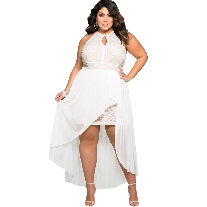 Bianco Plus Size Dress 2017 Lace Occasioni speciali Sexy-4987